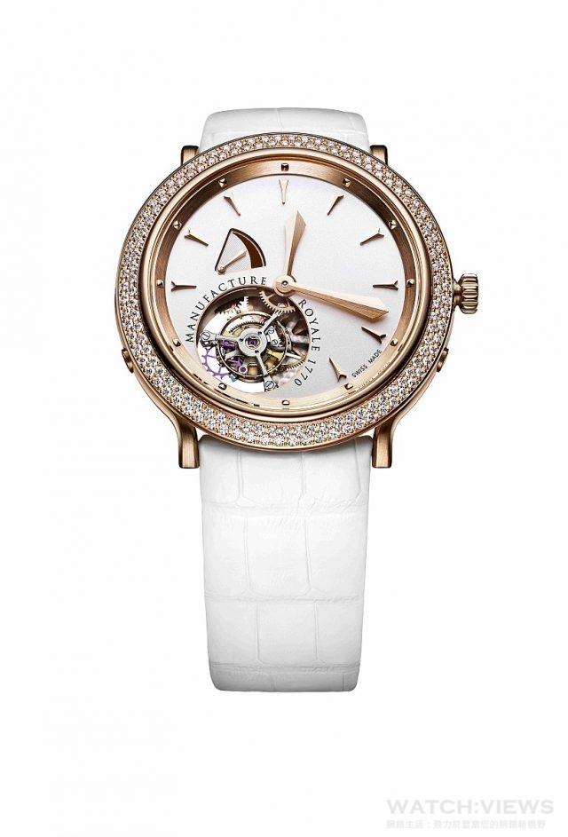 1770 Rose Gold & Diamonds18K玫瑰金錶殼,錶圈鑲鑽,直徑43毫米,時、分指示、陀飛輪、儲能顯示,藍寶石水晶鏡面、透明底蓋,防水30米,MR自製手上鍊機芯,矽質擒縱,儲能108小時,手工鱷魚皮錶帶。