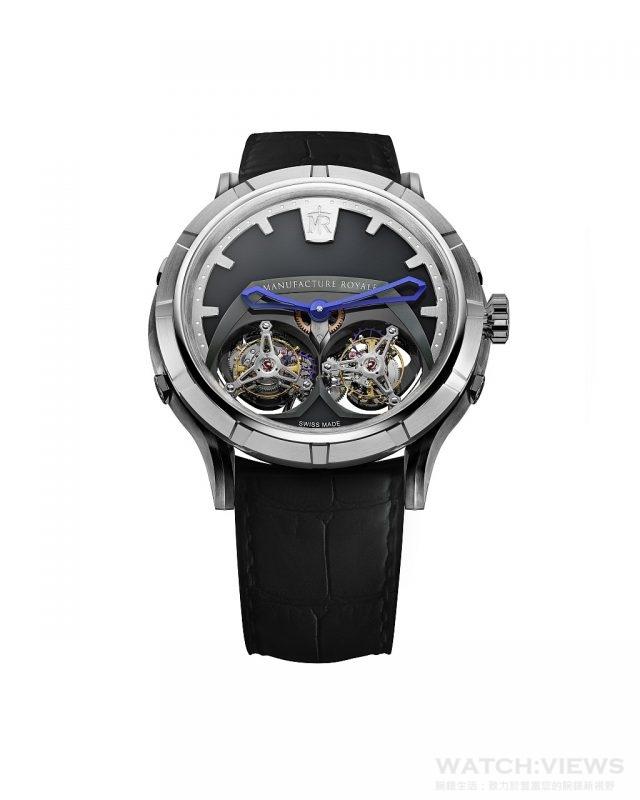 1770 Micromegas不鏽鋼錶殼,錶徑45毫米,時、分、雙陀飛輪,藍寶石水晶鏡面、透明底蓋,防水30米,MR自製自動上鍊機芯, 80小時動力儲存,手工鱷魚皮錶帶。