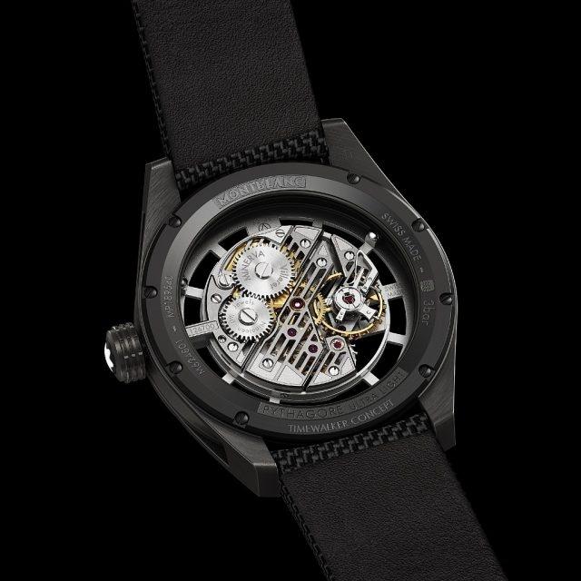 萬寶龍Timewalker時光行者系列Pythagore超輕概念腕錶搭載萬寶龍自製 MB M62.48機械機芯,直徑31.6毫米,高度 3.9毫米, 鏤空鈦合金圓盤及夾板,,螺絲擺輪,直徑9.7毫米,慣性矩15毫克/平方釐米,振頻 1小時18,000 次(2.5赫茲),平面式游絲,Phillips末端曲線設計,重量4.73克。