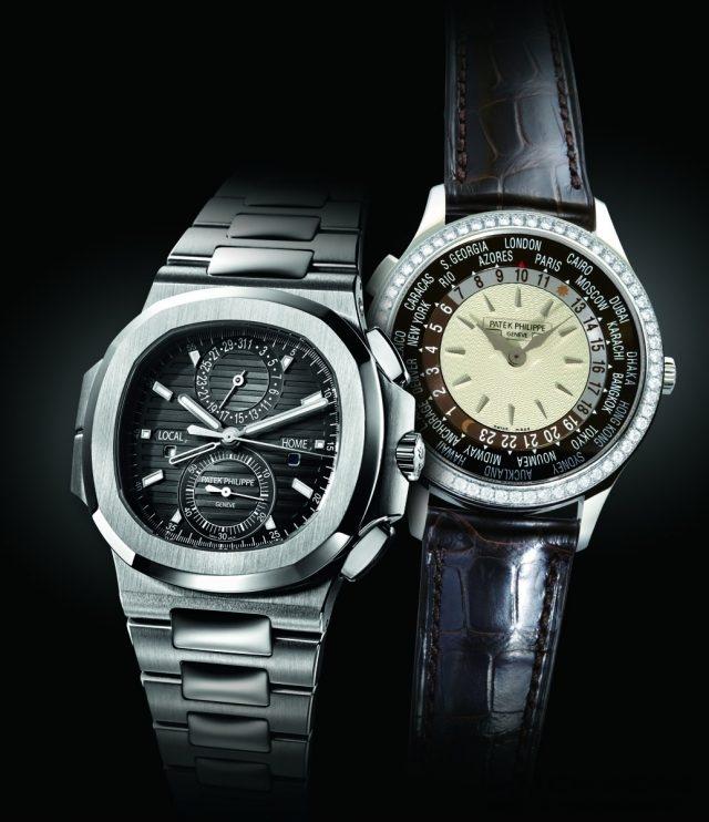 (左)百達翡麗Nautilus Travel Time Chronograph兩地時間計時碼錶Ref. 5990/1A匯聚了計時碼錶與兩地時間這兩項複雜功能於一身,相當實用地呼應現代旅人跨時區旅行的需求。(右)因應當代成功女性對頂級機械腕錶的渴求,以及商務旅行掌握全球時間的需要,百達翡麗Ref.7130女裝世界時區腕錶正是妳最可靠的美麗旅伴。