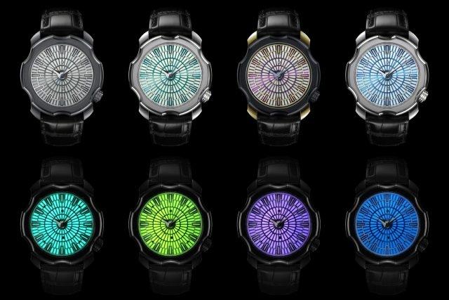 Korona K0 Seasons季節腕錶,由左至右依序為春、夏、秋、冬腕錶,下方為夜光顯示的模樣。