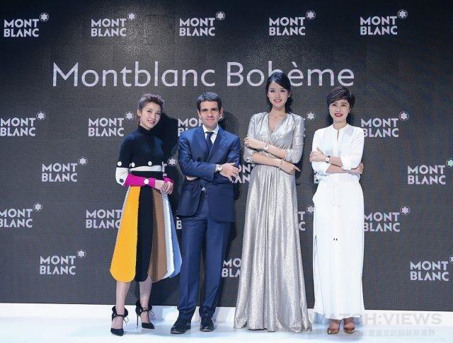 (左起) 新加坡女星歐萱、萬寶龍全球執行長傑羅姆蘭伯特Jerome Lambert、中國女星張梓琳、中國知名女導演薛曉璐。