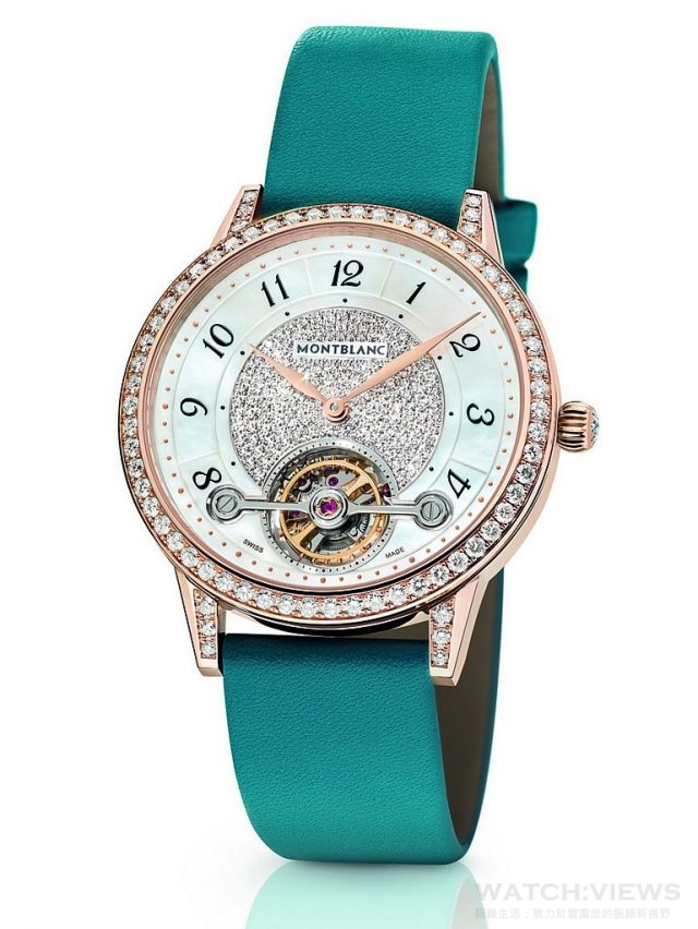 萬寶龍Bohème寶曦系列外置陀飛輪超薄珠寶腕錶湛藍色錶帶款,NT$1,500,400。