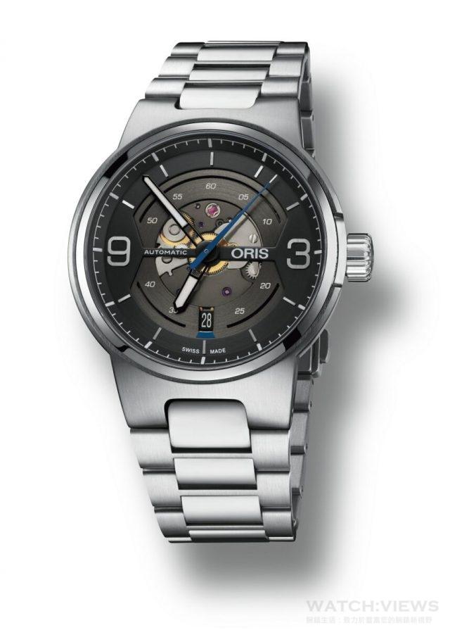 •Oris Williams鏤空日期錶,型號 01 733 7716 4164 R,不銹鋼錶殼,錶徑42毫米,Oris自動機芯 Cal 733, 日期視窗位於6點鐘位置,防水100米,平面內層抗折射藍寶石水晶玻璃,旋入式不銹鋼後蓋.透明礦物玻璃,黑色橡膠錶帶搭配不銹鋼摺疊錶扣,亦有不銹鋼鍊帶選擇,建議售價NT$42,000(RS)/ 46,000(MB)。