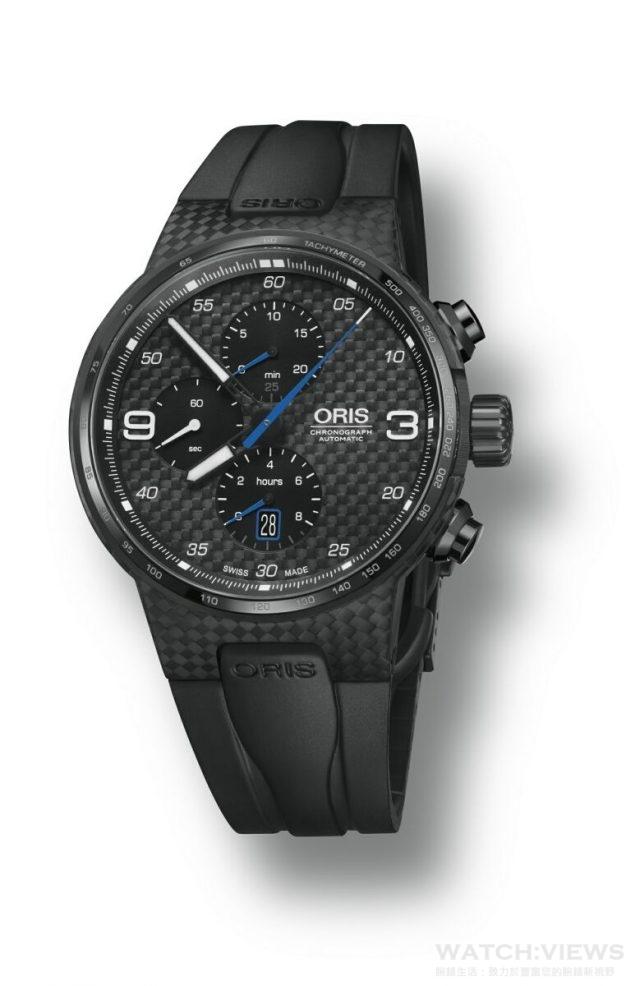 Williams Valtteri Bottas 限量腕錶型號 01 674 7725 8784 RS,黑色DLC塗層鈦金屬錶殼,錶徑44毫米,錶殼中間部分為高科技碳纖維材質,防水達100米,Oris自動上鍊機芯Cal. 674,計時碼錶功能、日期視窗位於6點鐘位置,旋入式黑色DLC塗層鈦金屬後蓋,Valtteri Bottas與車號和限量編號之雕刻,黑色橡膠錶帶搭配黑色DLC塗層鈦金屬摺疊錶扣,建議售價NT$139,000。