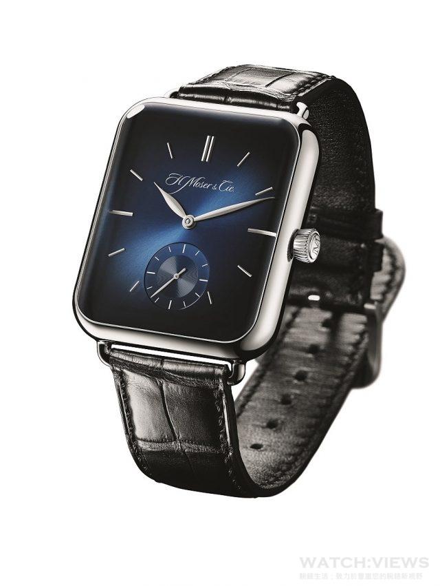 Swiss Alp Watch S參考編號5324-0201,18K白金錶殼,錶徑38.2X44毫米,午夜藍色fumé煙燻錶盤,時、分、小秒針、機芯側動力儲存指示,HMC 324手上鍊機芯,動力儲存最少4天,藍寶石水晶玻璃錶鏡面及底蓋,黑色鱷魚皮錶帶,建議售價NTD910,000。