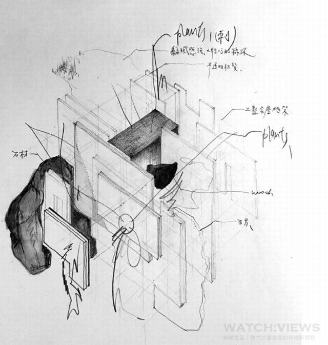 李霽此次裝置擷取建築模型為靈感,揣摩瑞士刀交疊的收納機制,將不同介面與機能穿插同一空間量體中,分割出適當比例關係來對應其作品視覺。