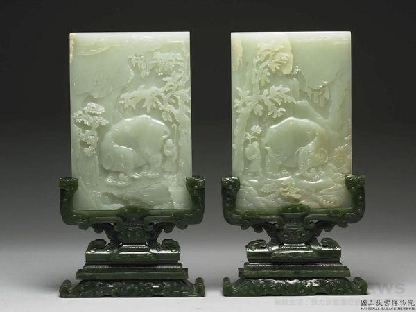 臺北故宮博物院─玉器桌上屏風擺飾,雕刻大象、人物、梅子樹圖案,為中國清代乾隆期(1736-1795)作品。