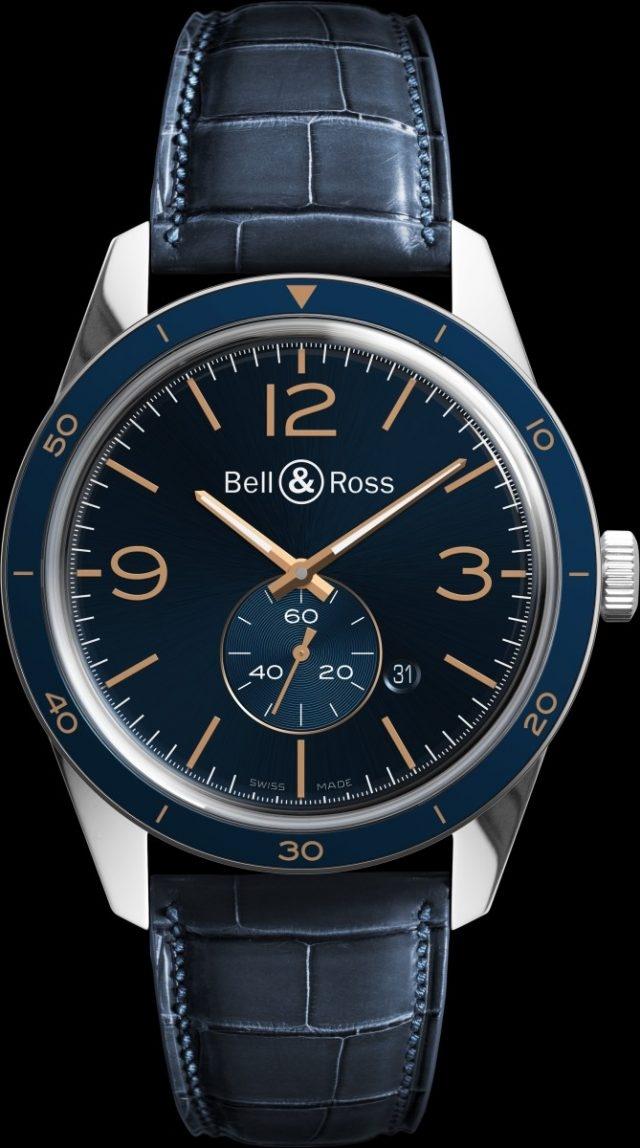 Vintage BR 123 Aeronavale不鏽鋼錶殼,錶徑43毫米,固定式精鋼錶圈,帶藍色陽極氧化鋁環,時針、分針、6點鐘位置小秒針、日期,BR-CAL.305自動上鍊機芯,藍寶石水晶玻璃錶鏡,防水100米,藍色鱷魚皮錶帶,建議售價NTD111,200。