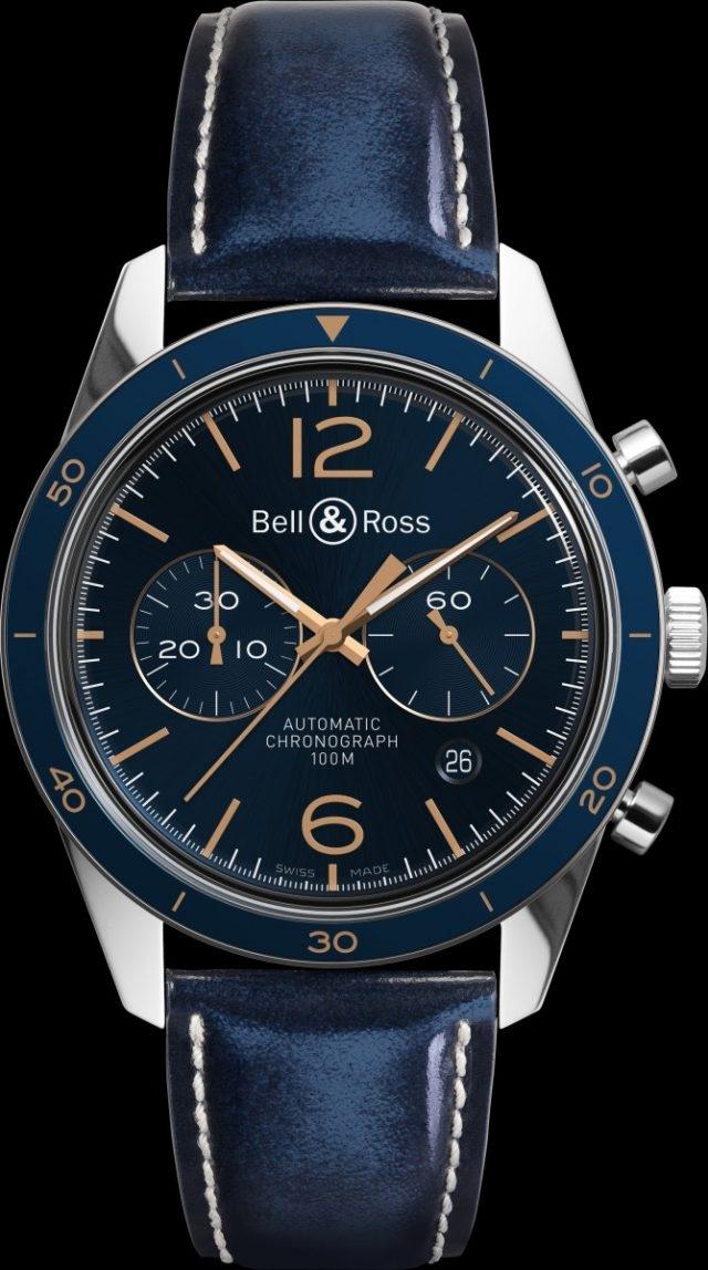 Vintage BR 126 Aeronavale計時碼錶 不鏽鋼錶殼,錶徑43毫米,固定式精鋼錶圈,帶藍色陽極氧化鋁環,藍色旭日紋錶盤,時針、分針、小秒針、日期、計時碼錶,BR-CAL.301自動上鍊機芯,藍寶石水晶玻璃錶鏡及底蓋,防水100米,藍色小牛皮(帶淡褐色縫線)或藍色鱷魚皮錶帶,建議售價NTD146,000(小牛皮款式,本款式所示)/153,100。