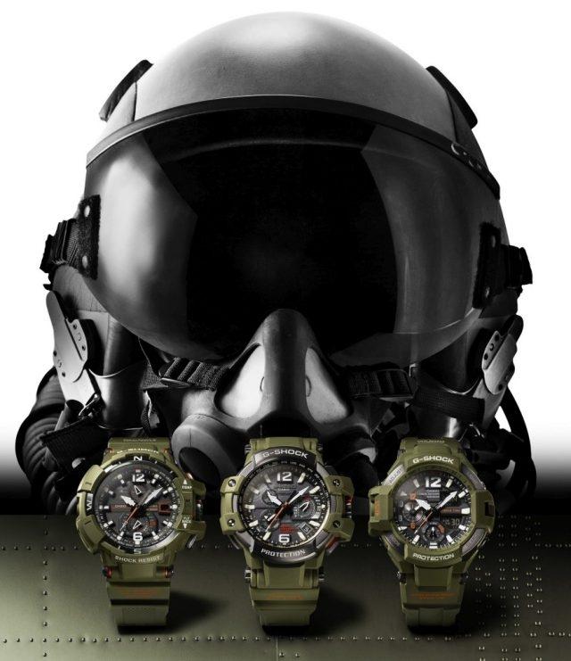 G-SHOCK GRAVITYMASTER推出橄欖綠強悍新色,GRAVITYMASTER專為飛行工作者設計,具備TRIPLE G RESIST規格,可抗衝擊、抗震動、抗離心力,避免飛機駕駛中碰到的各種外力而傷害錶款內部構造,全新系列包含GPW-1000KH-3A、GW-A1100KH-3A及GA-1100KH-3A,以飛行夾克為設計靈感,整體俐落的橄欖綠搭配橘色點綴錶面細節處。