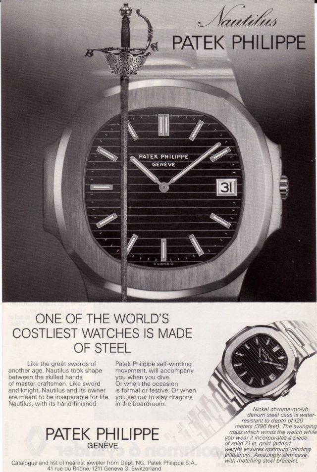 Nautilus金鷹系列3700腕錶的廣告訴求的是一只堅固耐用的頂級不鏽鋼腕錶,吸引充滿活力的新世代客戶,而金鷹系列突破傳統的風格也轉化為新時代的信念。