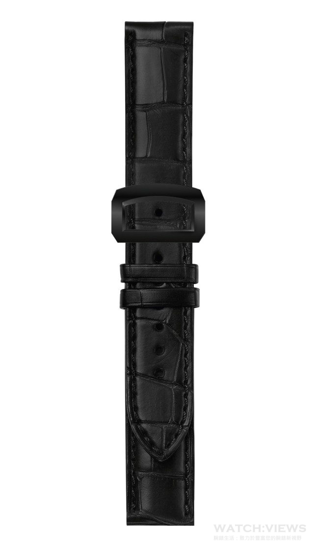 黑色鱷魚皮錶帶配黑色不銹鋼折疊扣