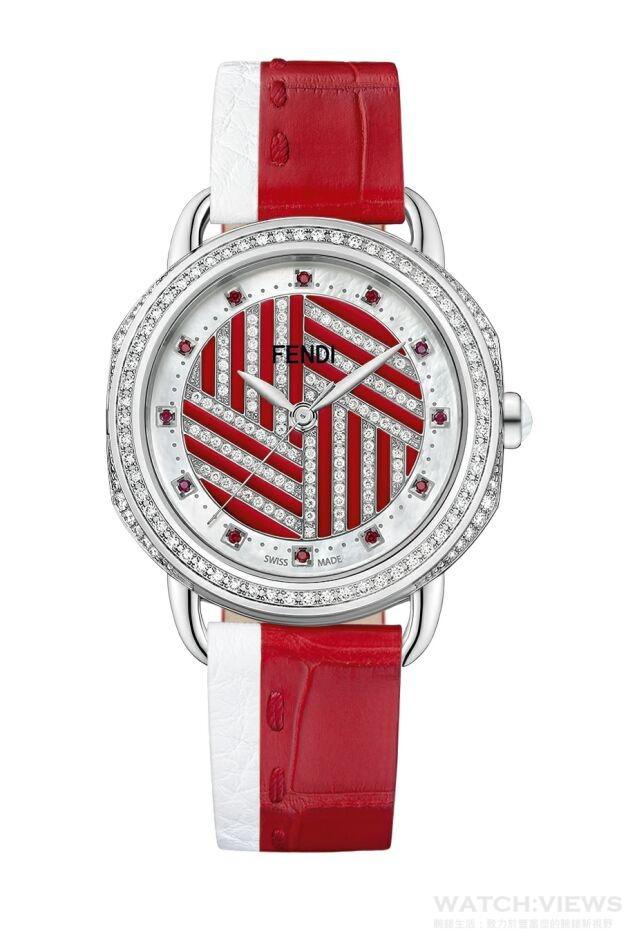 Fendi Selleria限量腕錶不銹鋼錶殼,錶徑36毫米,錶圈和邊緣鑲嵌195顆鑽石,約1.14克拉(錶殼84顆鑽石,約0.77克拉;錶盤111顆鑽石,約0.37克拉);12顆紅色拓帕石,約0.05克拉,時、分、秒指示,瑞士製造石英機芯,防水50公尺,可輕易更換錶帶的錶背開口,手工縫製FENDI Cuoio Romano小牛皮革和短吻鱷魚皮帶,限量8枚,錶殼刻有限量編號:XX/8,隨付Silvia Venturini Fendi親筆感謝信函,建議售價NTD 430,500。