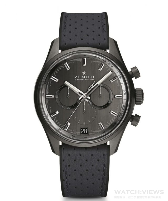 Zenith El Primero Range Rover特別版腕錶瓷化鋁錶殼,直徑42毫米,灰色拉絲錶面,中置時、分顯示、小秒針位於9時位置、計時功能、日期顯示、測速儀,El Primero 400B型自動機芯,振頻每小時36,000次(5赫茲),動力儲備至少50小時,獨特擺陀飾以ZENITH和RANGE ROVER字樣,建議售價NTD 265,700。