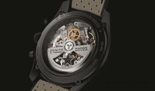Zenith El Primero Range Rover特別版腕錶所搭載的El Primero 400B型自動機芯,自動上鍊擺陀裝飾有ZENITH和RANGE ROVER字樣。