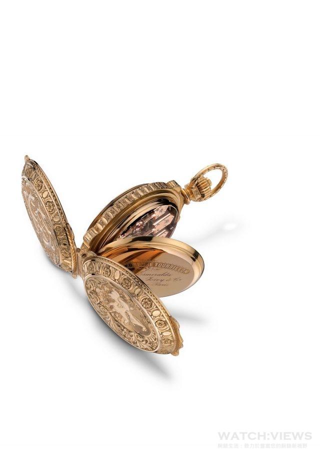 1889 年巴黎世界博覽會贏得金獎的三金橋陀飛輪懷錶