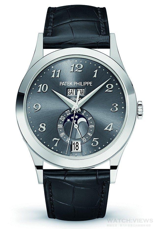 Ref.5396G-014 年曆腕錶18k 白金錶殼,錶徑38.5 毫米,時、分、秒、日期、星期、月份年曆、月相、24 小時顯示,Caliber 324 S QA LU 24H 自動上鍊機芯,百達翡麗印記,動力儲存35-45小時,藍寶石水晶玻璃鏡面及後底蓋,防水30 米,鱷 魚皮錶帶,另有18K 玫瑰金款。