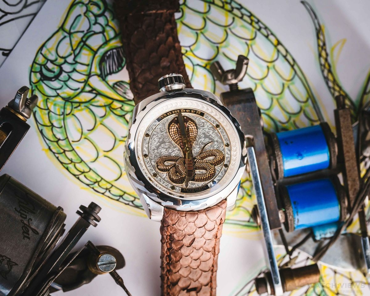 BOMBERG BOLT-68  AUTOMATIC COBRA – 黑色及銀色眼鏡蛇系列腕錶