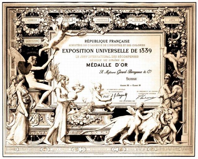 GP芝柏表三金橋陀飛輪 1889 年巴黎環球博覽會上面世,贏得鐘錶界別的金獎殊榮。