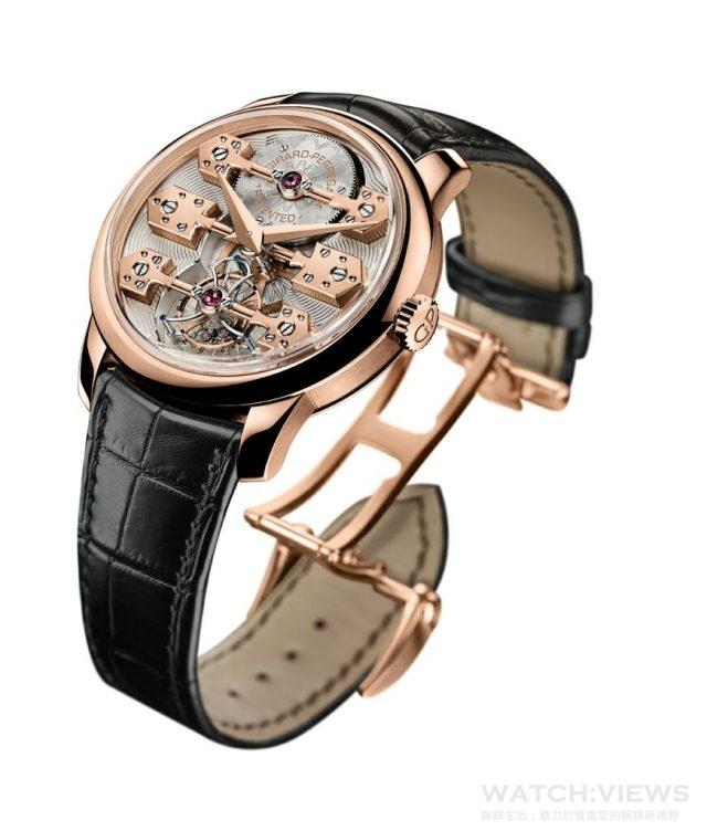 GP 芝柏表Esmeralda Tourbillon 陀飛輪腕錶玫瑰金錶殼,錶徑44毫米,陀飛輪、時、分、小秒(在陀飛輪上),Girard-Perregaux GP09400-0004 自動上鏈機械機芯,動力儲存:最少 60 小時,藍寶石水晶玻璃鏡面及底蓋,防水30米,黑色手縫鱷魚皮錶帶附玫瑰金三疊式折疊釦,建議售價NTD5,840,000。