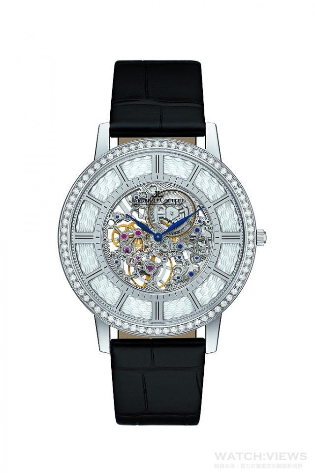 積家Master Ultra Thin Squelette超薄大師系列鏤空腕錶18K白金錶殼,鑲嵌明亮式切割鑽石,時、分顯示,搭載積家849ASQ型手動上鏈機械機芯,動力儲存33小時,機芯厚度僅1.85毫米,錶殼厚度4.05毫米,限量100只,建議售價NT$2,390,000。