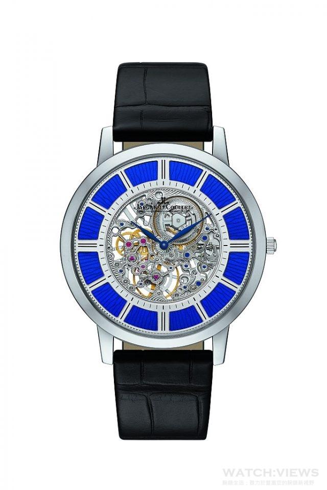 積家Master Ultra Thin Squelette超薄大師系列鏤空腕錶18K玫瑰金錶殼,時、分顯示,搭載積家849ASQ型手動上鏈機械機芯,動力儲存33小時,機芯厚度僅1.85毫米,錶殼厚度3.6毫米,建議售價NT$1,950,000。