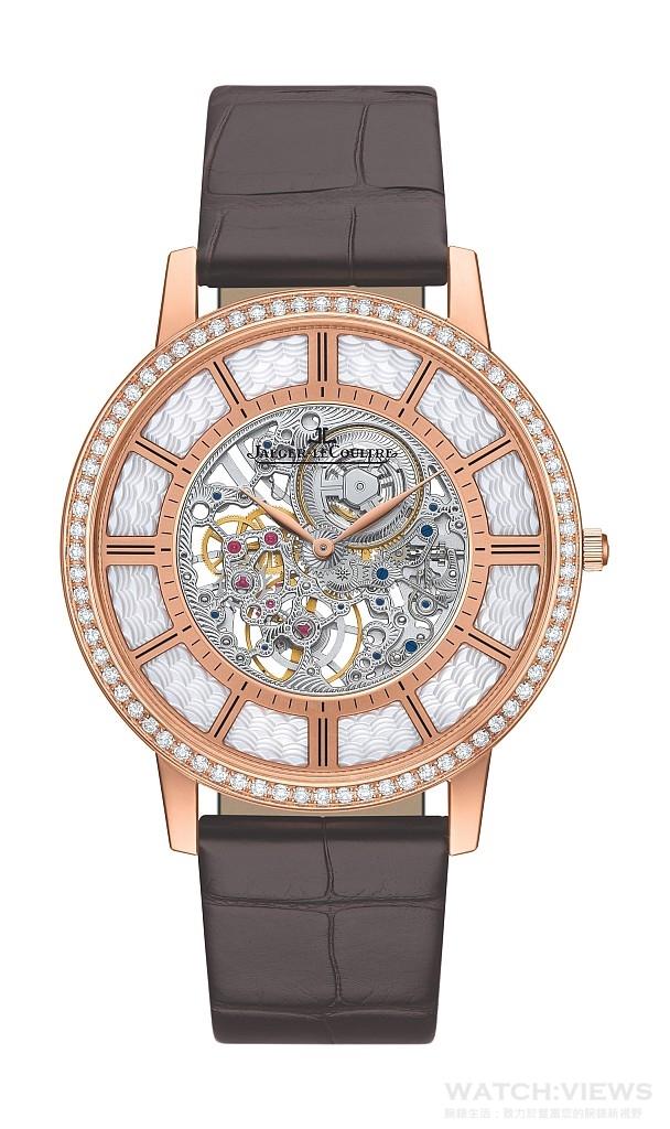 積家Master Ultra Thin Squelette超薄大師系列鏤空腕錶18K玫瑰金錶殼,鑲嵌明亮式切割鑽石,時、分顯示,搭載積家849ASQ型手動上鏈機械機芯,動力儲存33小時,機芯厚度僅1.85毫米,錶殼厚度4.05毫米,限量100只,建議售價NT$2,310,000。