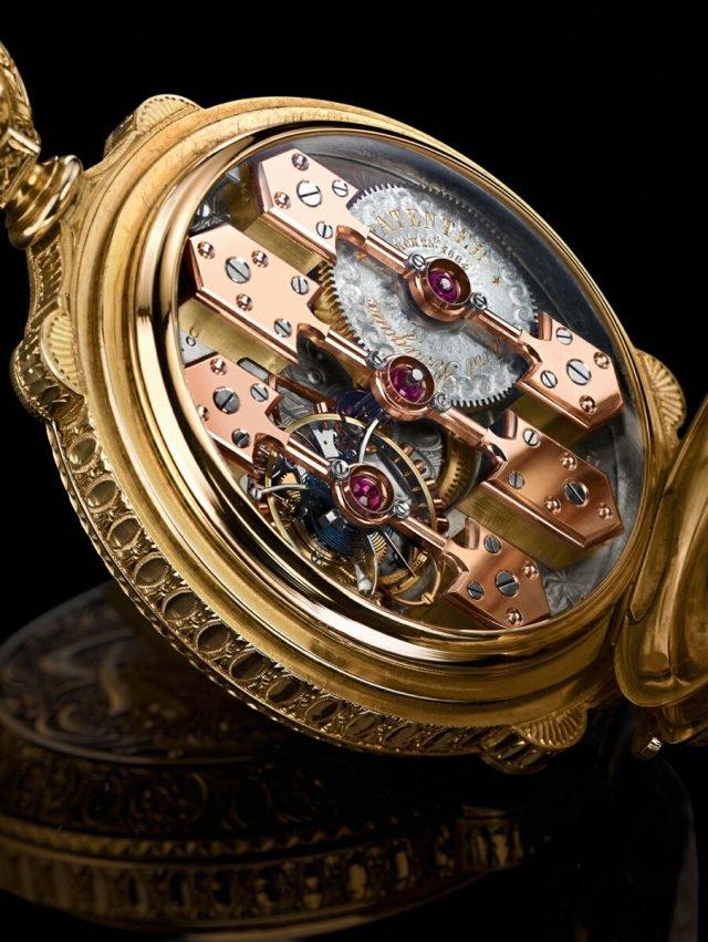 早年的La Esmeralda三金橋陀飛輪懷錶,憑著精緻絕倫的設計美學,三金橋陀飛輪成為製表史上最古老而且尚獲採用的機芯,而且其結構自 1860 年以來仍然絲毫無改。