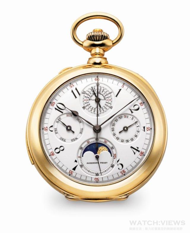 1882年:愛彼推出首枚大複雜功能懷錶,具有萬年曆、雙秒追針計時和三問報時功能。