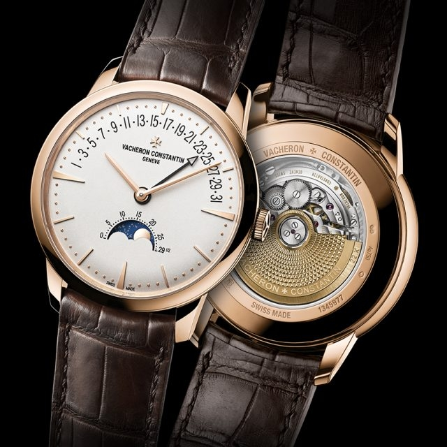 Patrimony月相和逆跳日曆錶18K 5N玫瑰金錶殼,直徑42.5毫米,厚度9.7毫米,銀乳白色錶盤,小時、分鐘、逆跳日曆、精密月相、月齡,2460 R31L自動上錬機械機芯,由江詩丹頓自行研發並製造,動力儲存約40小時,日內瓦印記認證,深棕色雙層密西西比鱷魚皮錶帶。
