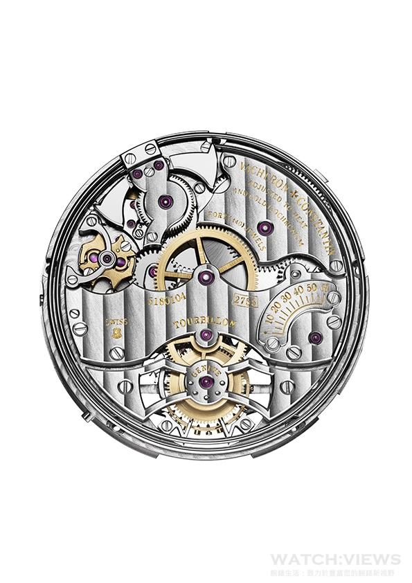 2755 TMR手動上錬機械機芯由江詩丹頓自行研發並製造 動力儲存約58小時,直徑33.9毫米(14¾法分),厚度6.1毫米,震動頻率2.5 赫茲(每小時18,000 次),471個零件,40顆寶石。