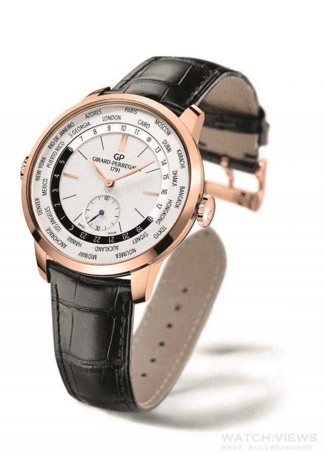 1966「1966 WW.TC」腕錶不鏽鋼或 18K 玫瑰金錶殼,直徑40毫米,時、分、小秒、世界時間,連晝夜顯示,GP03300自動上鍊機芯,動力儲備最少46小時,防水30米,鱷魚皮錶帶或不鏽鋼鍊帶。