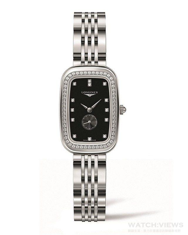 浪琴表騎士系列黑面鑲鑽不銹鋼鍊帶腕錶,22 x 32mm,型號L6.141.0.57.6,建議售價 NT$110,700。