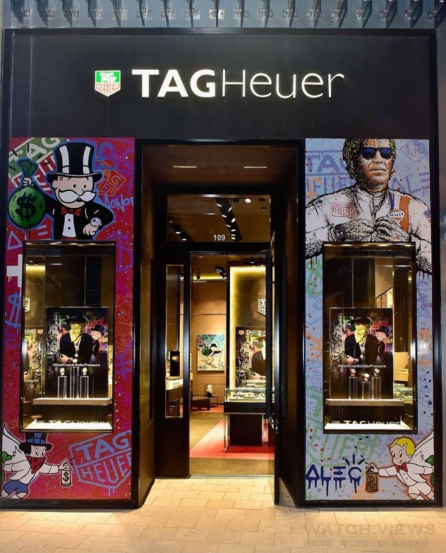 TAG Heuer藝術狂想家Alec Monopoly為TAG Heuer專賣店繪製的塗鴉作品。