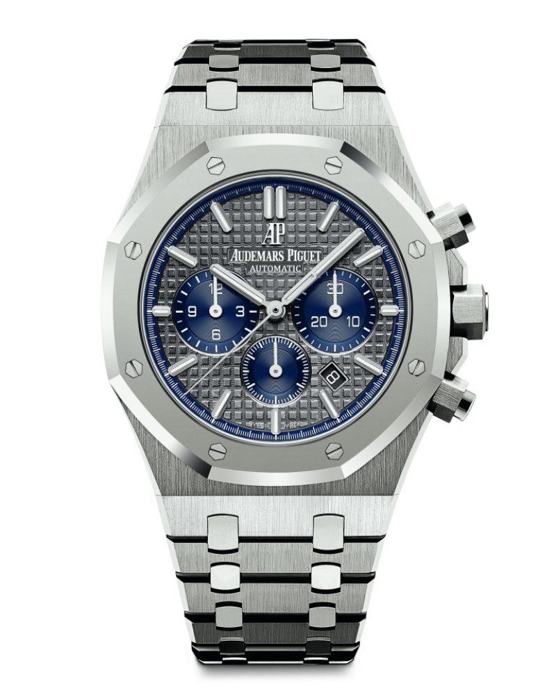 愛彼皇家橡樹計時碼錶,型號26331IP.OO.1220IP.01,鈦金屬錶殼及鉑金錶圈,鈦金屬鏈帶搭鉑金鍊結,灰色錶盤。