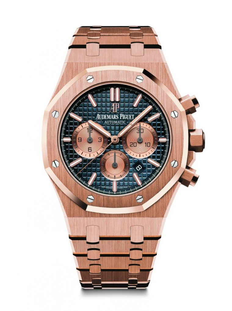 愛彼皇家橡樹計時碼錶,型號26331OR.OO.1220OR.01,18K玫瑰金錶殼及鏈帶,藍色錶盤。