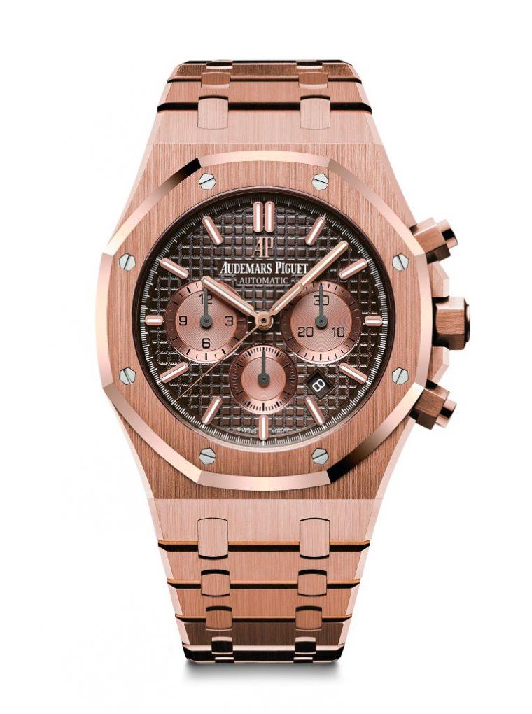 愛彼皇家橡樹計時碼錶,型號26331OR.OO.1220OR.02,18K玫瑰金錶殼及鏈帶,棕色錶盤。