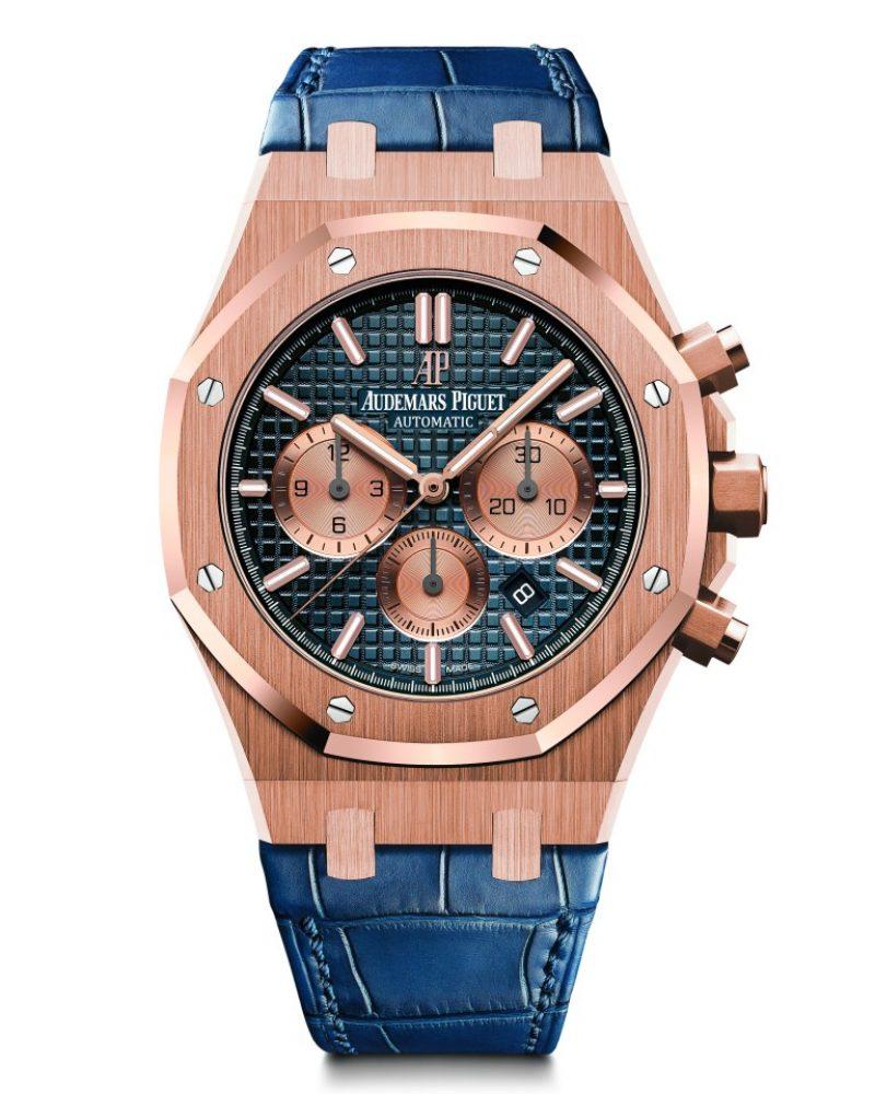 愛彼皇家橡樹計時碼錶,型號26331OR.OO.D315CR.01,18K玫瑰金錶殼,鱷魚皮錶帶,藍色錶盤。