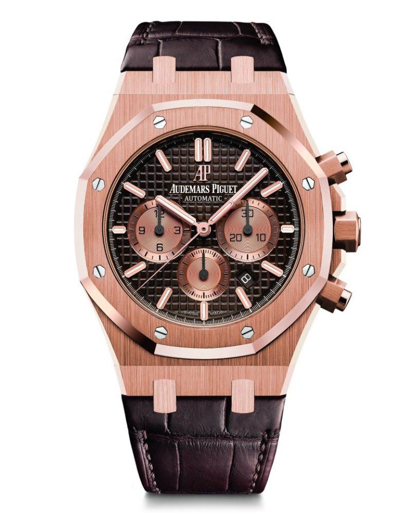 愛彼皇家橡樹計時碼錶,型號26331OR.OO.DCR.01,18K玫瑰金錶殼,鱷魚皮錶帶,棕色錶盤。