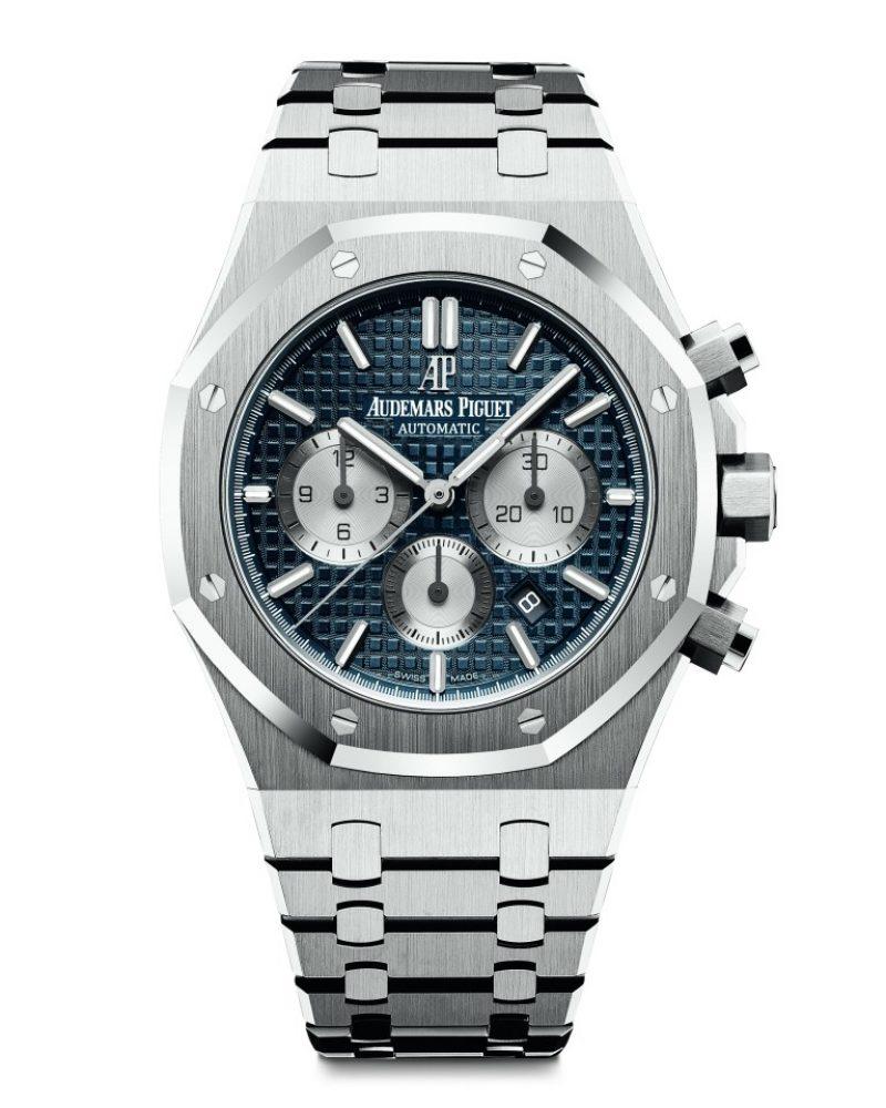愛彼皇家橡樹計時碼錶,型號26331ST.OO.1220ST.01,不銹鋼錶殼,藍色錶盤。