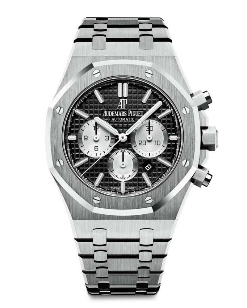 愛彼皇家橡樹計時碼錶,型號26331ST.OO.1220ST.02,不銹鋼錶殼,黑色錶盤。