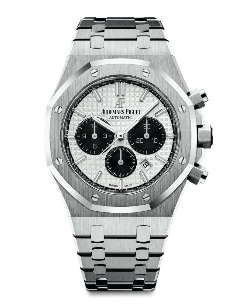 愛彼皇家橡樹計時碼錶,型號26331ST.OO.1220ST.03,不銹鋼錶殼,銀色錶盤。