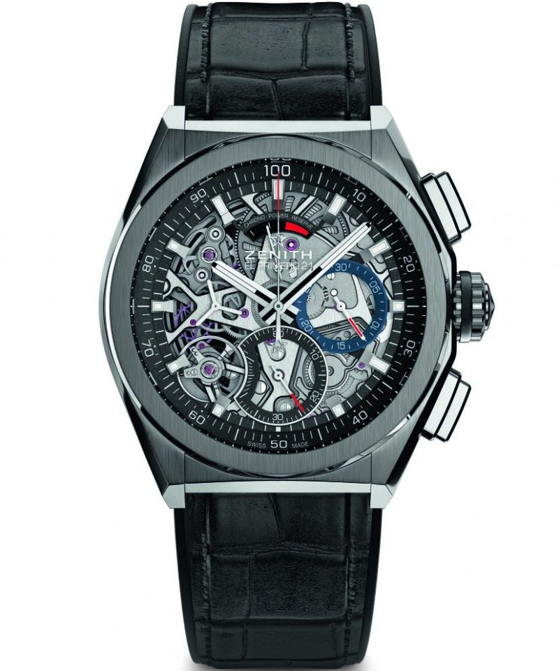 Defy El Primero 21腕錶,鈦金屬錶殼,通透錶面,建議售價NT$380,100