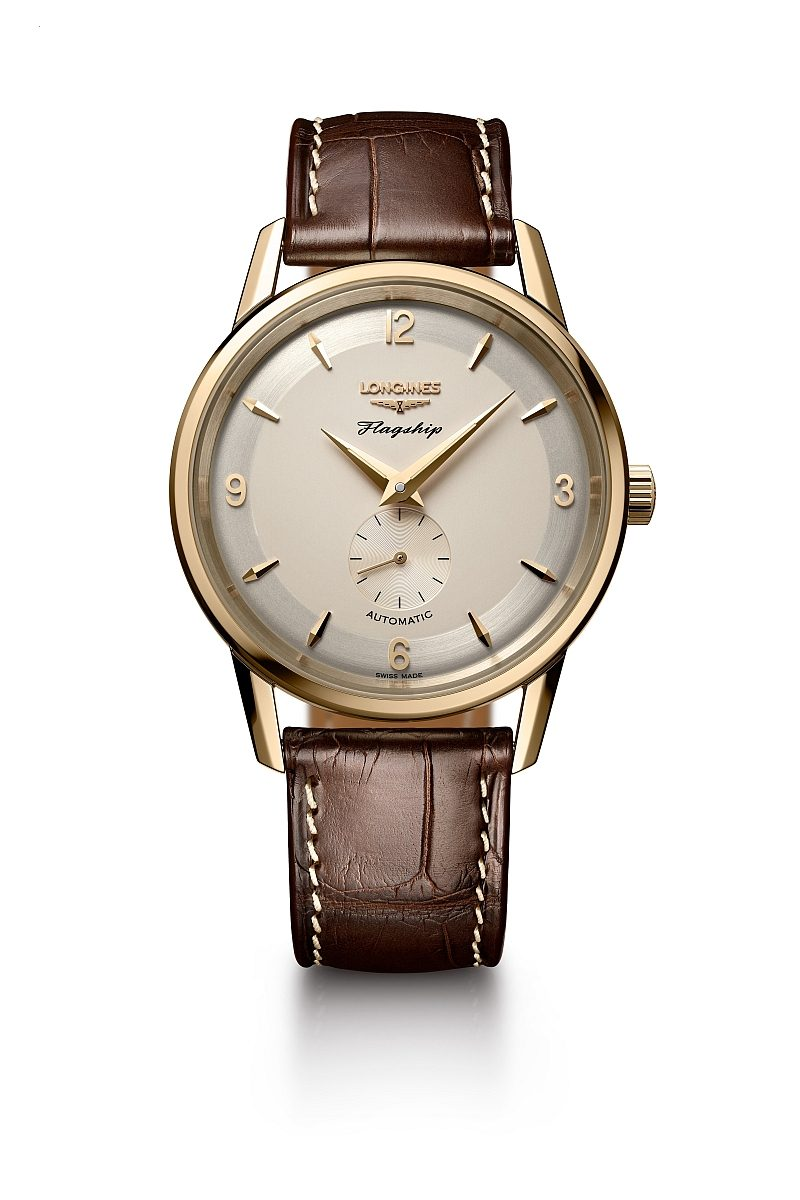浪琴表旗艦系列60周年紀念18K黃金復刻腕錶,建議售價NTD259,400