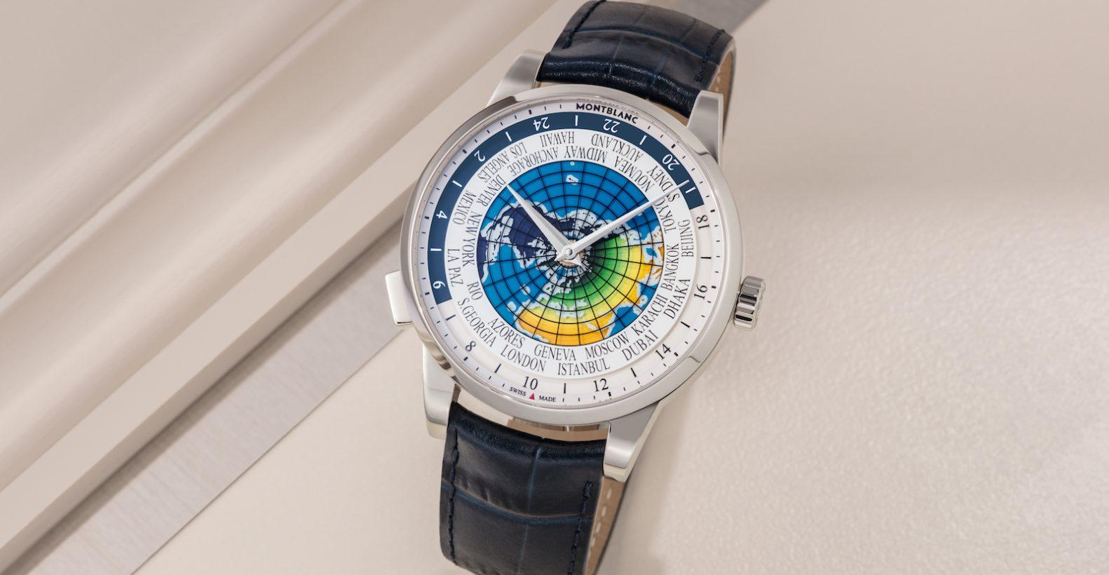 傳承精神UNICEF系列世界時區限量腕錶,不鏽鋼錶殼,錶徑41毫米,時、分、世界時區、24小時顯示、MB 29.20自動上鍊機芯,藍寶石水晶玻璃鏡面,鱷魚皮錶帶,限量500只,參考售價:NTD 185,400。