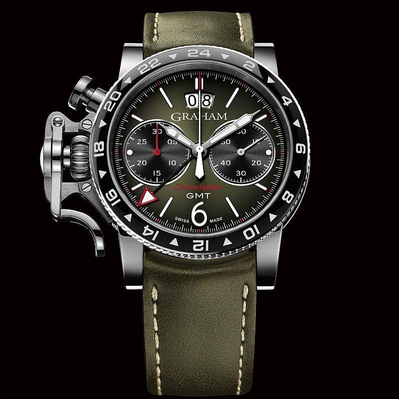 Graham Chronofighter Vintage GMT腕錶,綠色太陽放射狀飾紋錶盤,手縫綠色小牛皮錶帶,建議售價NTD248,000。