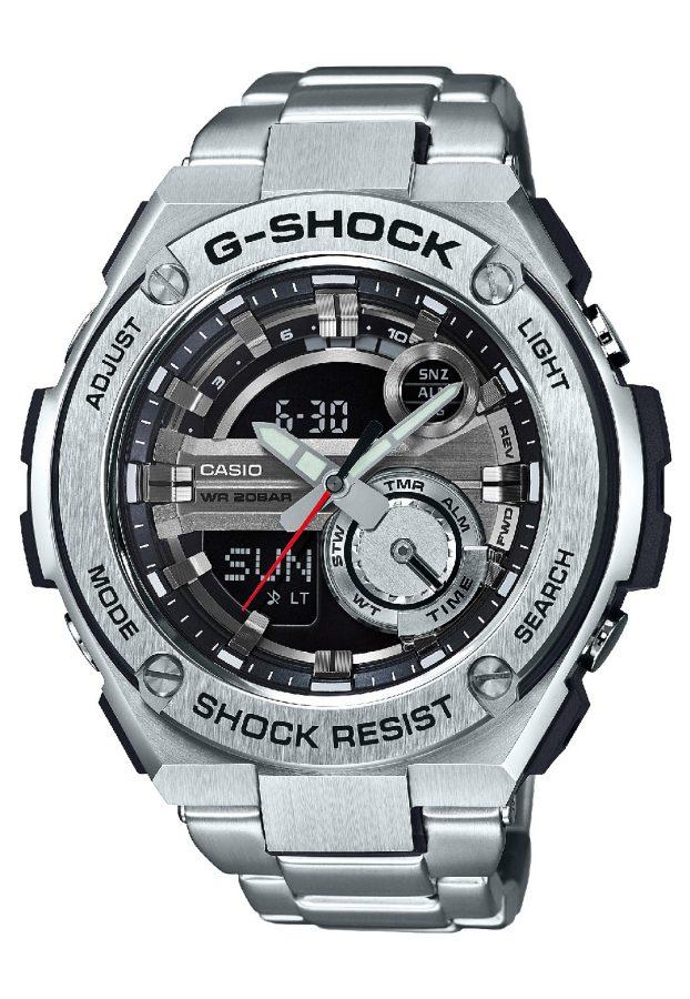 G-STEEL系列GST-210D-1A腕錶,不鏽鋼鍊帶,參考售價:NTD 11,500。