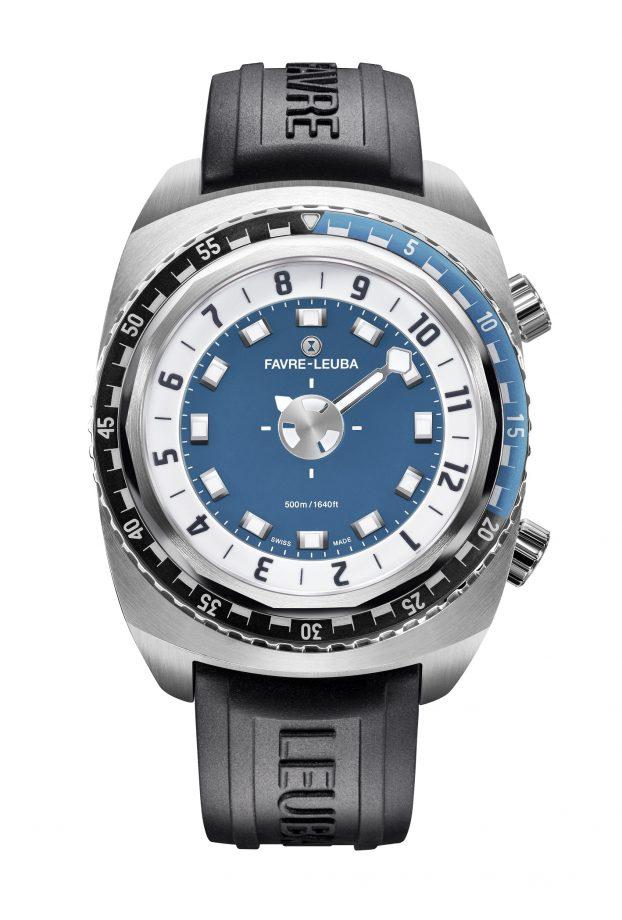Raider系列Harpoon腕錶,不鏽鋼錶殼,錶徑46毫米,時、分、秒、手動排氦閥門、單向旋轉錶圈、夜光指針及時標,專利自動上鍊機芯,藍寶石水晶玻璃鏡面,防水500米,橡膠錶帶,參考售價:NTD 135,000。