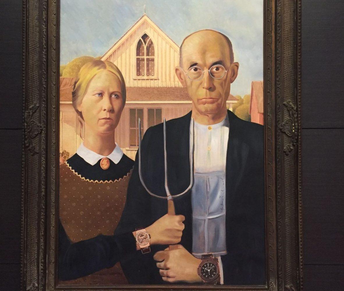 《Hublot American》的原創為美國畫家Grant Wood的《American Gothic》,描述1930年代面臨經濟蕭條的美國農民。